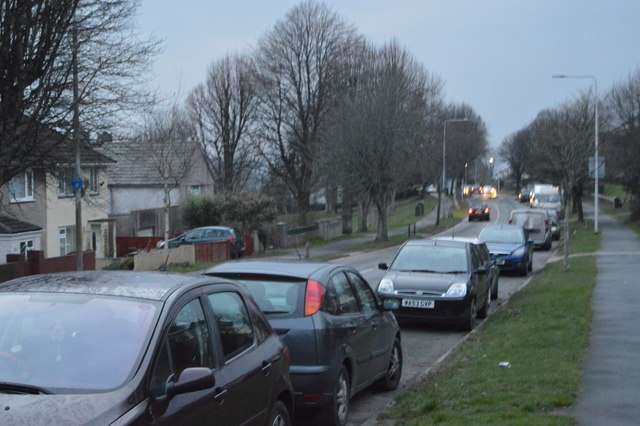 Cars parked, Budshead Rd