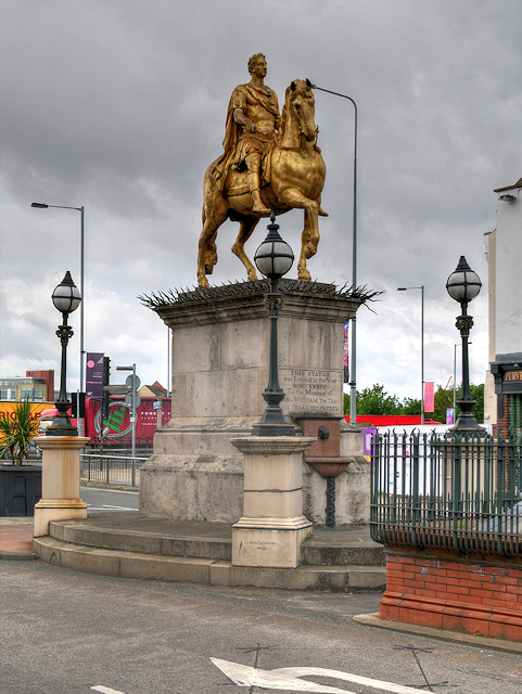 """Market Place, The Statue of King Billy """"the Great Deliverer"""""""
