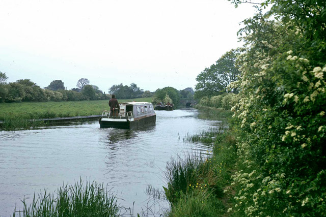 Boat heading north on Ashby Canal. 1976