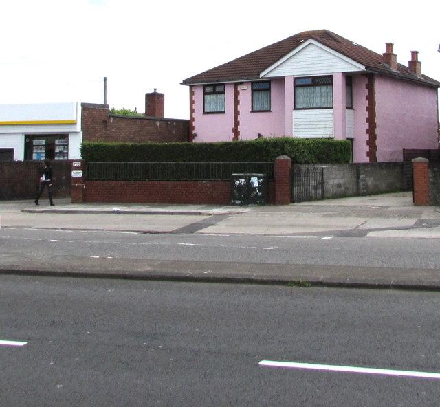 Pink house, Newport Road, Rumney, Cardiff