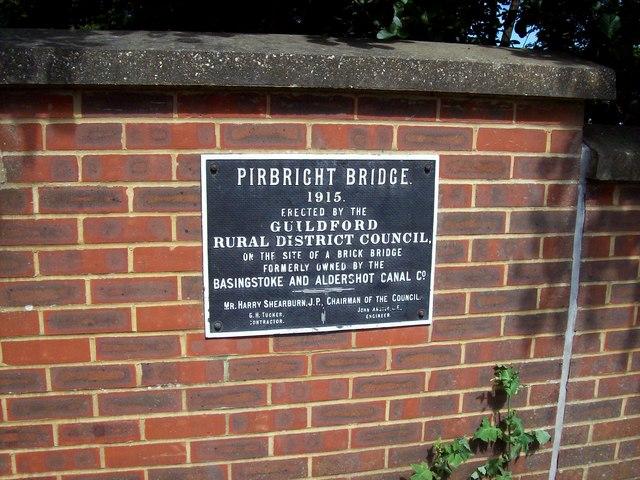 Pirbright Bridge, Plaque