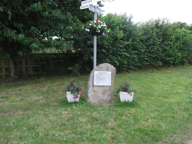 Signpost and milestone at the junction of the High Street and Westcott Lane, Cheswardine