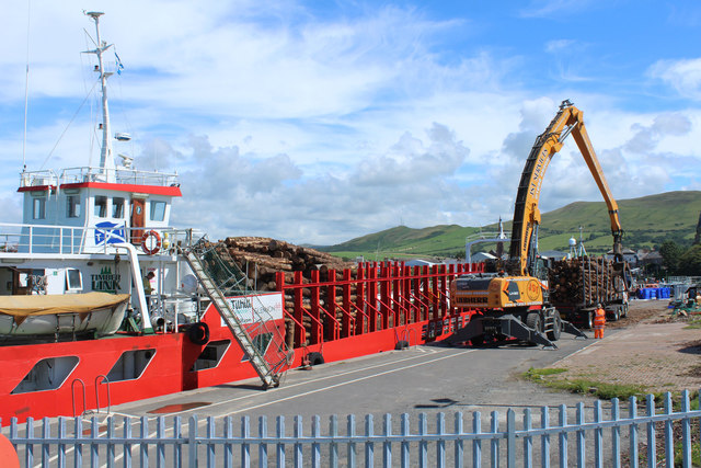 Red Princess off Loading at Girvan Harbour