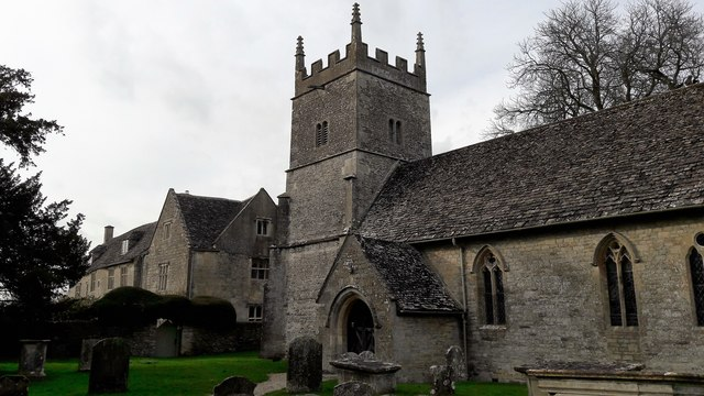 All Saints' church and Manor House, Somerford Keynes