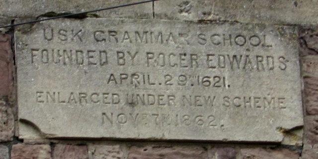 Usk Grammar School plaque, Usk