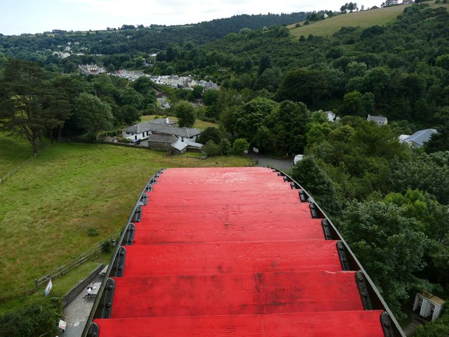 At the top of the Laxey Wheel looking over Laxey village
