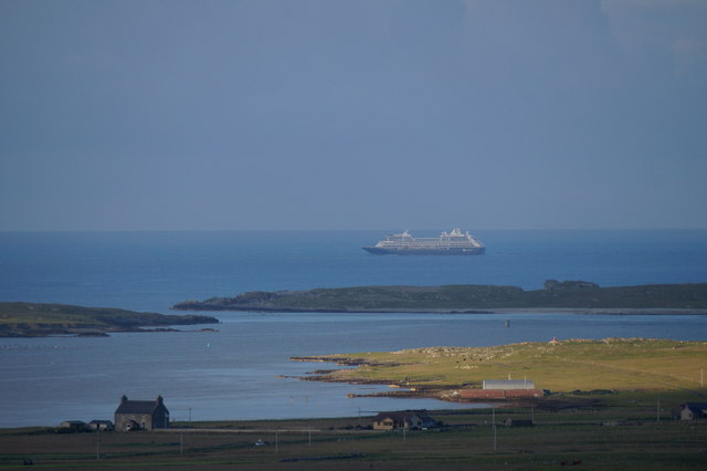 Ordaal, Baltasound voe and Balta from the Hill of Voesgarth