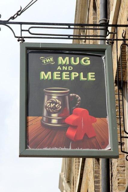 The Mug and Meeple sign
