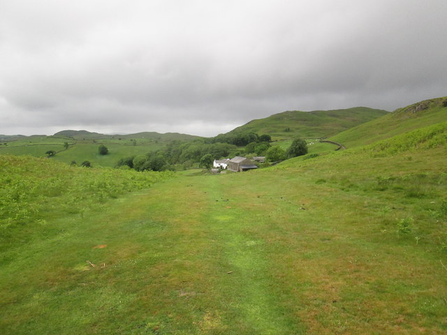 A  grassy  path,  looking  back  to  Tottlebank  Farm