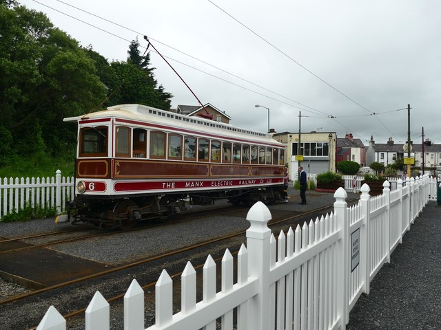 Manx Electric Railway Car 6 at the temporary Ramsey Station