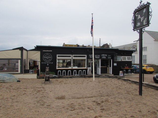 Cafe at the edge of East Beach, West Bay, Dorset