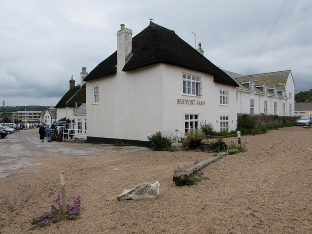 Beach side of the Bridport Arms Hotel, West Bay, Dorset