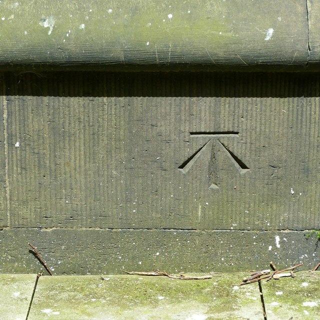 Bench mark, St Peter's Church, Belper