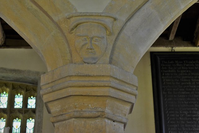 Stanton, St. Michael's Church: Odd carving in the nave 2