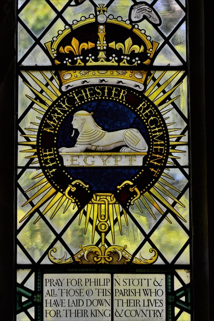 Stanton, St. Michael's Church: Stained glass window: The Manchester Regiment