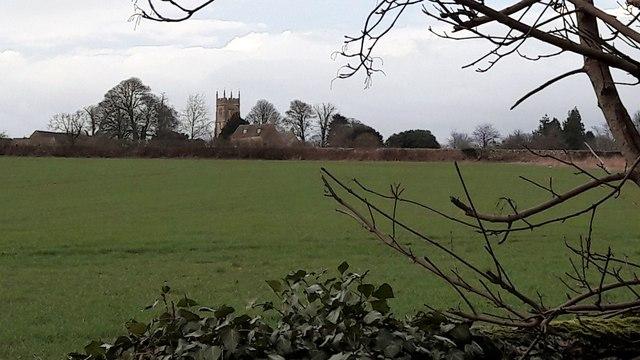 Coates church on the horizon