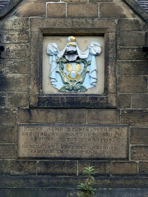 Matthew Smith Almshouses, Belper, dedicatory plaque