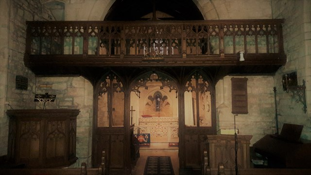 Rood screen and loft in St Mary's, Edgeworth