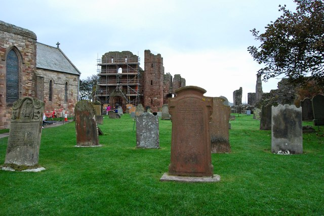 Lindisfarne Cemetery and the remains of the Priory