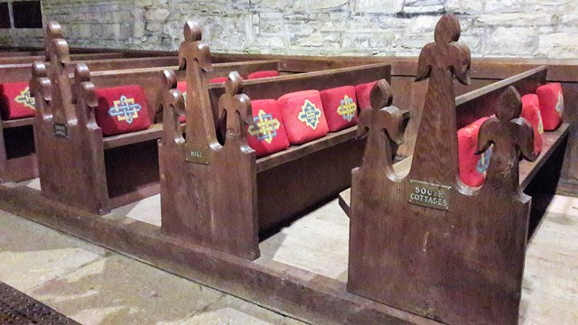 Pews in St Mary's, Edgeworth