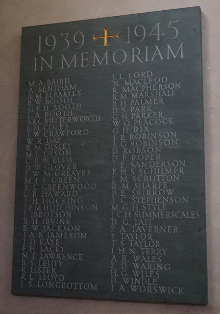 War Memorial Plaque, Giggleswick School Chapel