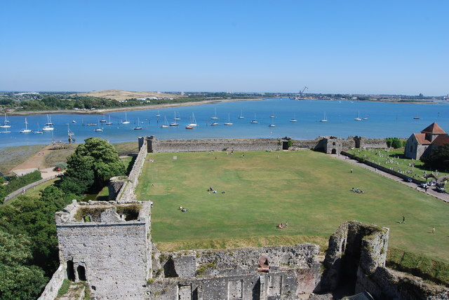 The view east-southeast from Portchester Castle