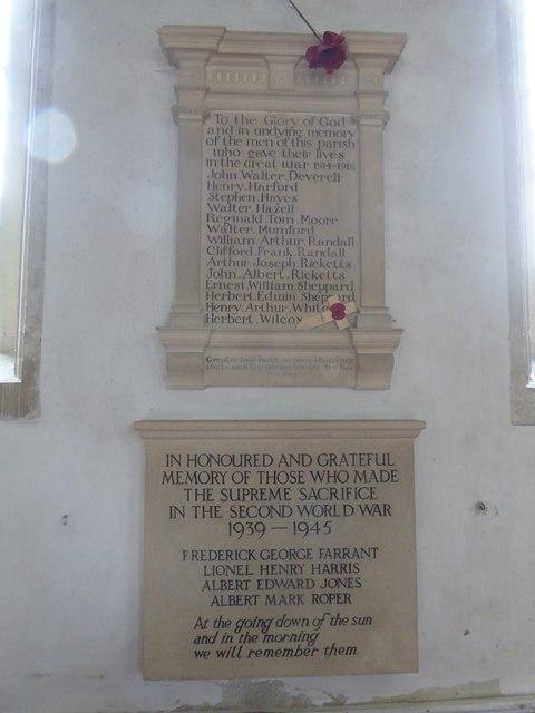 War memorials, Westwood church