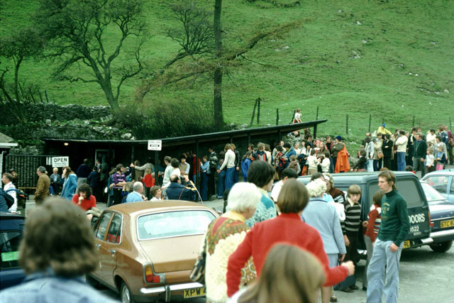 Queuing for the Speedwell Cavern, 1976