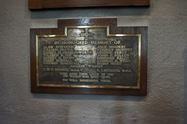 WW2 Memorial Plaque, Holy Ascension Church, Settle
