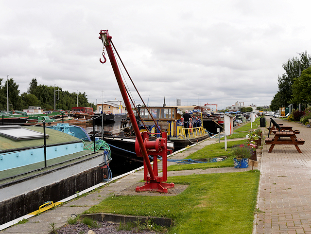 Crane and Canal Barges outside the Yorkshire Waterways Museum at Goole