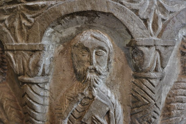Rendcomb, St. Peter's Church: c12th Norman font, depicting eleven disciples with the tools of their trades 2
