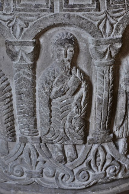 Rendcomb, St. Peter's Church: c12th Norman font, depicting eleven disciples with the tools of their trades 6