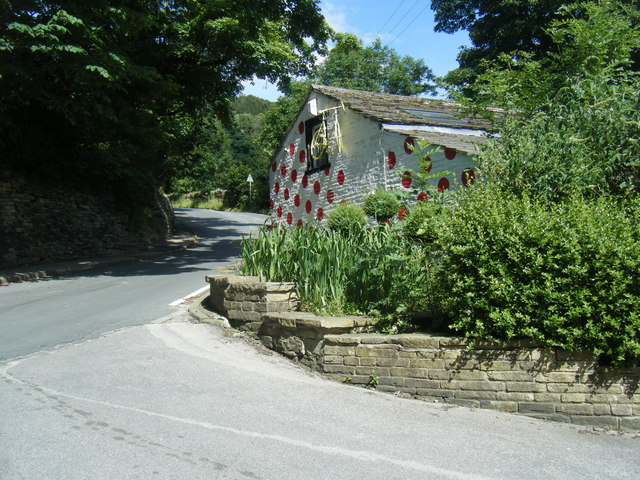 Shibden Mill Inn 'Polka Dot Jersey' wall and Blake Hill