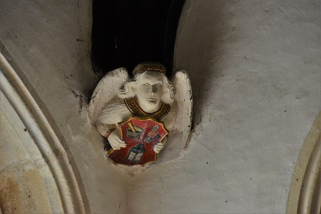 Rendcomb, St. Peter's Church: Medieval stone angel corbel 5