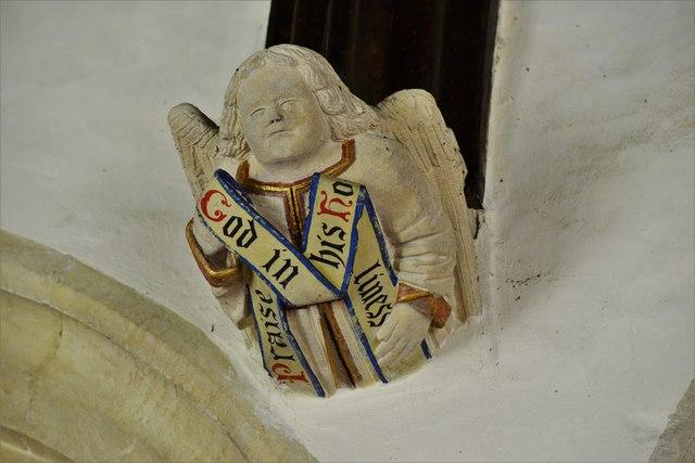 Rendcomb, St. Peter's Church: Medieval stone angel corbel 7