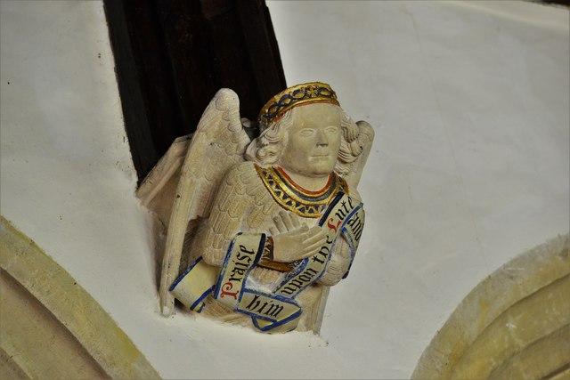 Rendcomb, St. Peter's Church: Medieval stone angel corbel 8