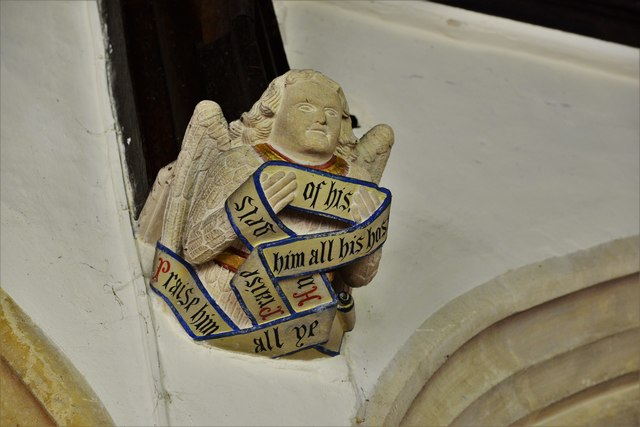 Rendcomb, St. Peter's Church: Medieval stone angel corbel 9