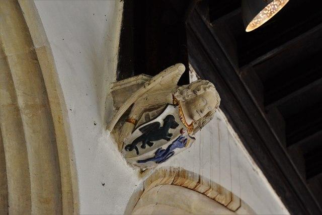 Rendcomb, St. Peter's Church: Medieval stone angel corbel 11
