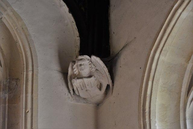 Rendcomb, St. Peter's Church: Medieval stone angel corbel 13