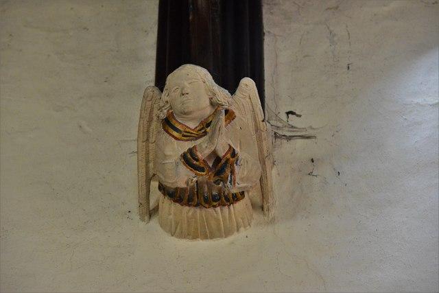 Rendcomb, St. Peter's Church: Medieval stone angel corbel 16