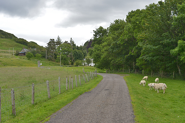 Road and grazing land near Strontoiller