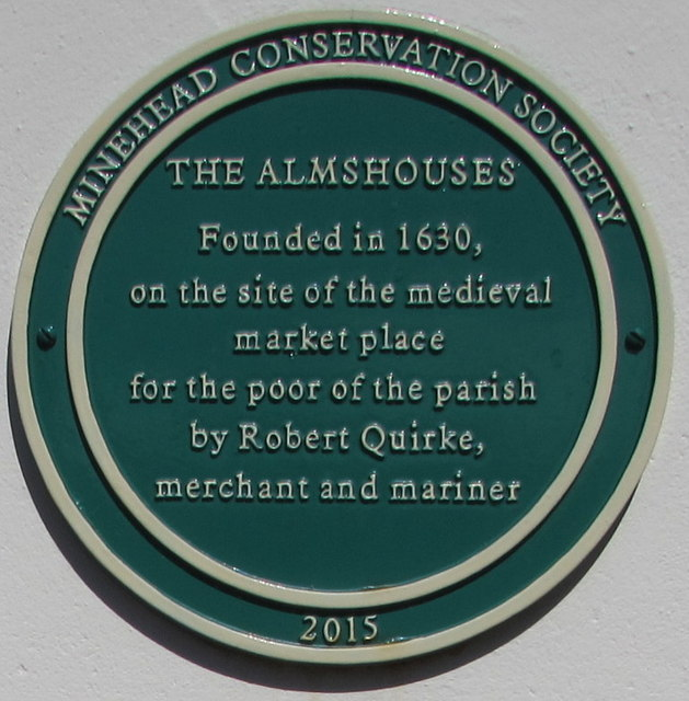 The Almshouses green plaque, Market House Lane, Minehead
