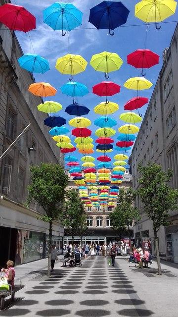 Umbrellas over Church Walk - Liverpool