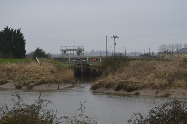 Sluice at end of Old Bedford River