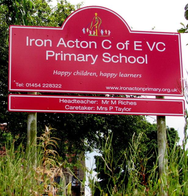 Iron Acton C of E VC Primary School name sign, Iron Acton