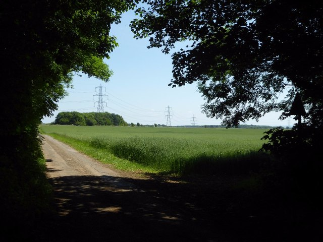 Pylons crossing Cotswold farmland