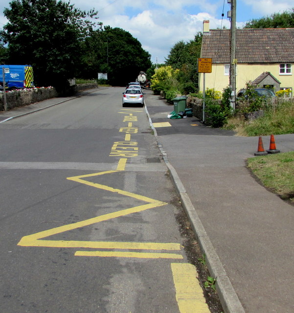 Zigzag yellow markings on Wotton Road, Iron Acton