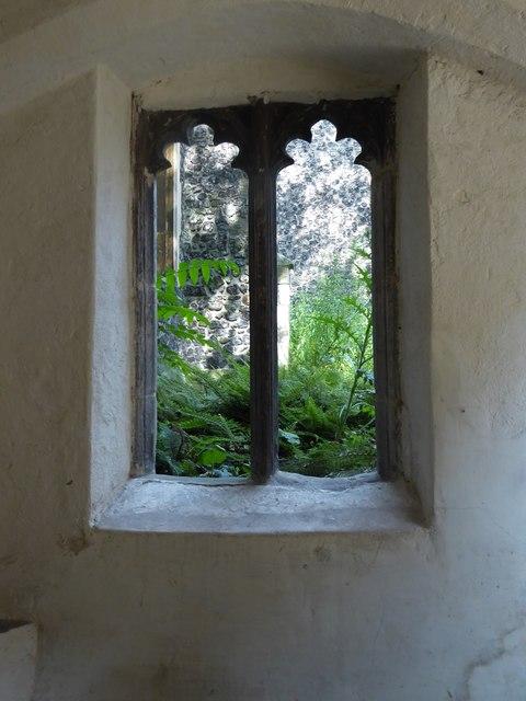 St Peter, Hungate: porch window