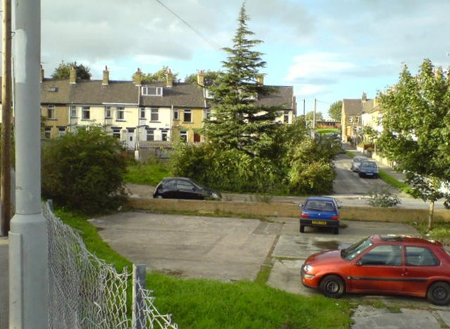 Woodlands Avenue, seen across a parking lot near New Pudsey station