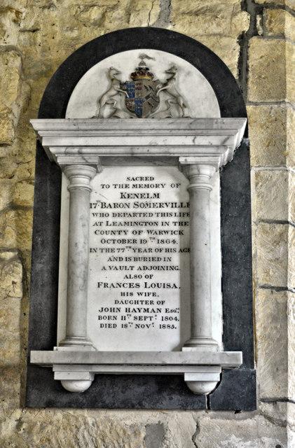 Memorial to 17th Baron Somerville, Aston Somerville